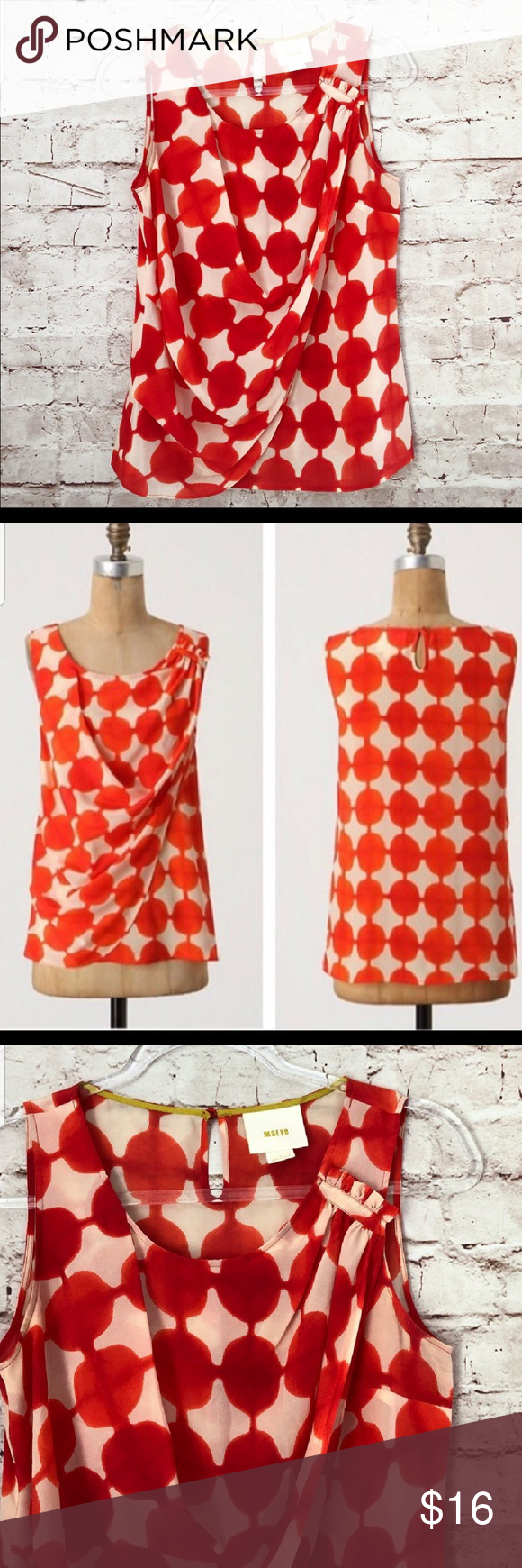 c0e0c5f1f2b9a Anthropologie maeve 100 silk blouse Polka dot blouse in perfect condition.  The polka dots are an orangish red Anthropologie Tops Blouses