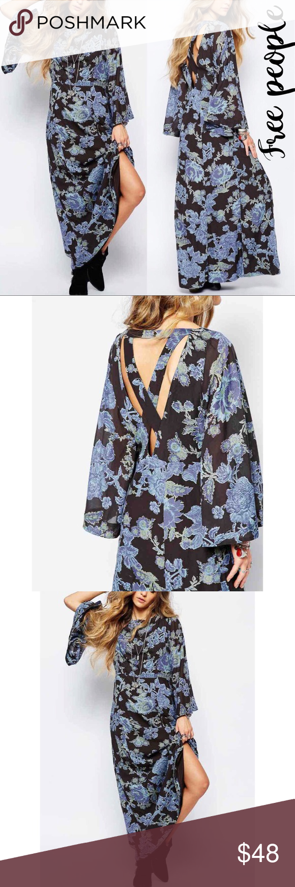 Free people melrose bell sleeve maxi dress size nwt