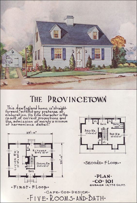 Tiny Cape Cod Center Hall Mid Century Cottage Style Nationwide House Plan Service T Cape Cod House Plans Cape Cod Style House Cottage Style House Plans
