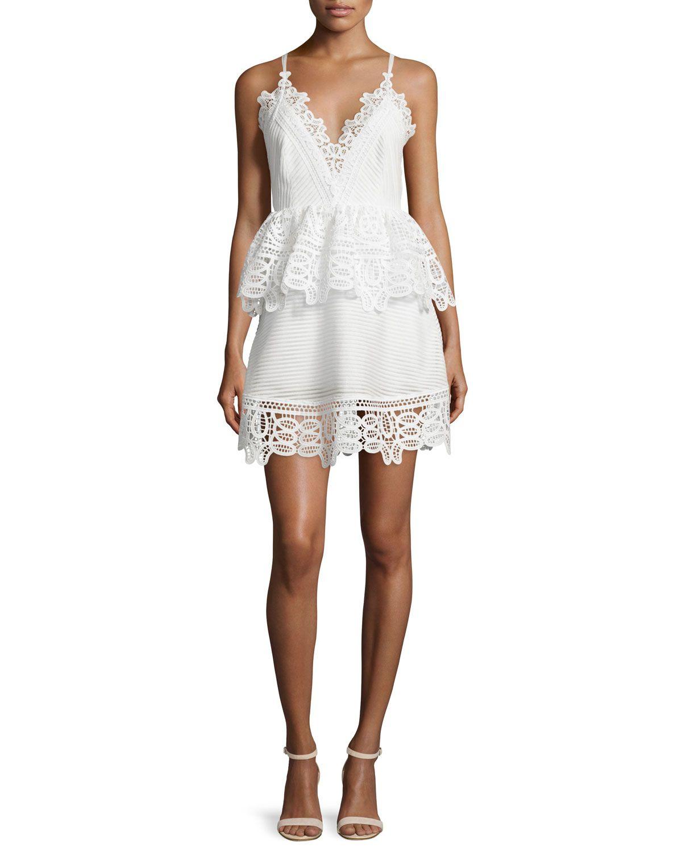 00bcfa370cde5 Self Portrait Sleeveless Lace-Trim Peplum Dress, White | The big day ...