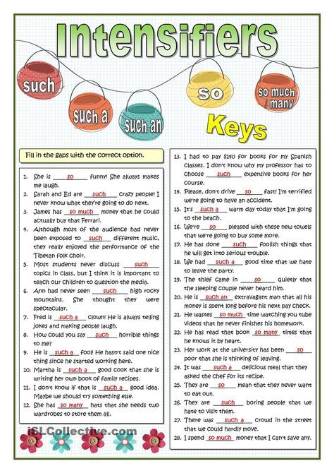 INTENSIFIERS - SO OR SUCH PRACTICE | Printable | Pinterest ...
