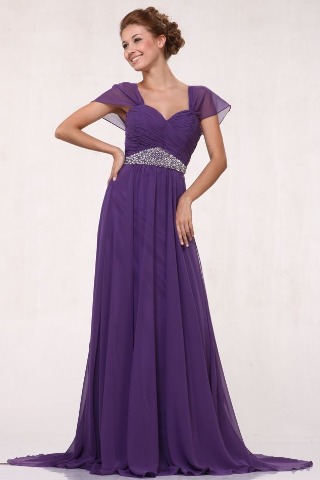 Plus Size Purple Dress Mother of Bride Chiffon Cap Sleeve Full ...