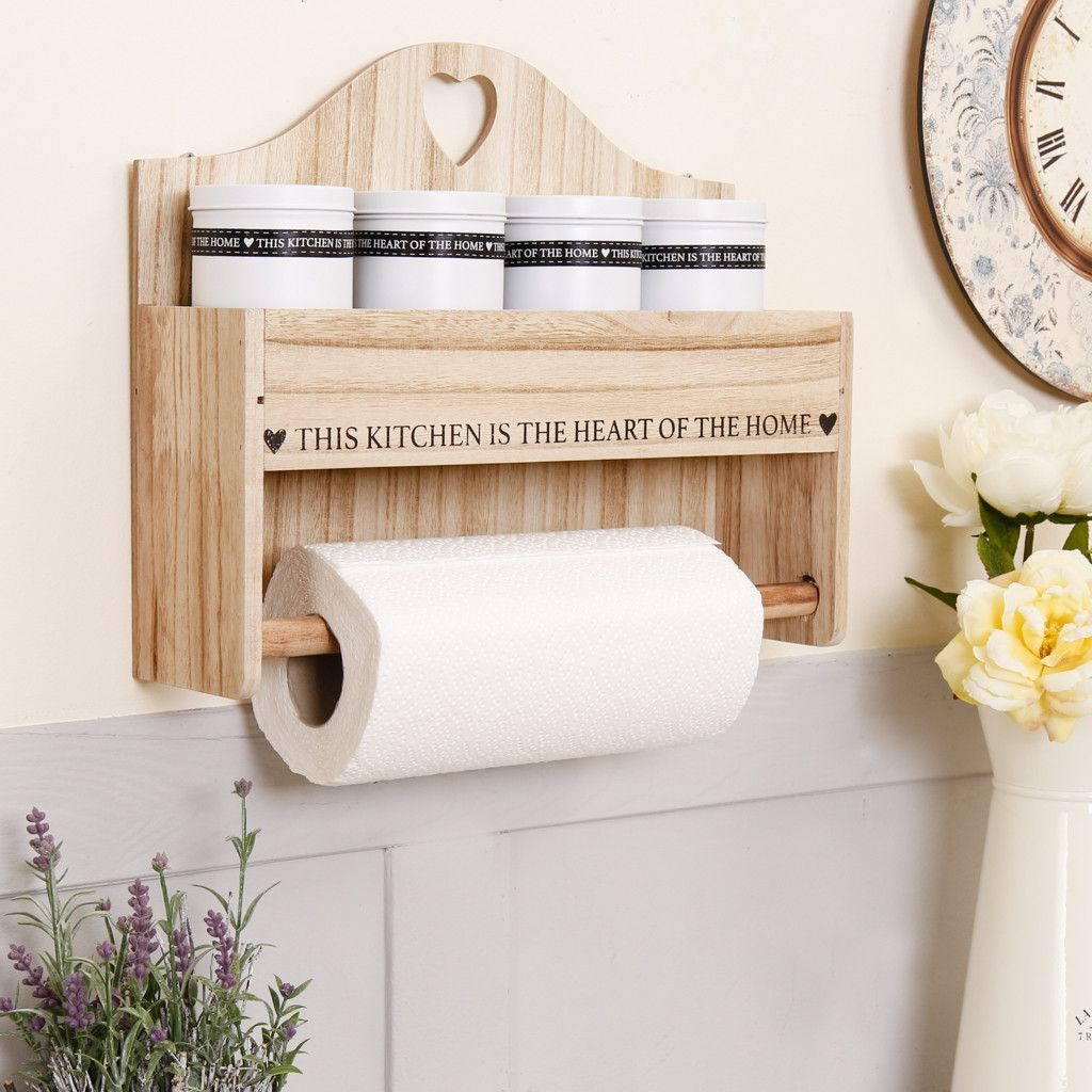 This Stylish Wall Mounted Kitchen Roll Holder Is Made From Wood Featuring Rustic Natural W Armario De Palete Prateleiras Abertas De Cozinha Decoracao Para Rack