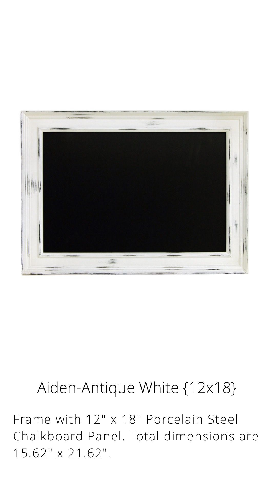 Aiden Antique White Porcelain Magnetic Chalkboard- Chalk Couture ...