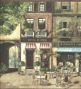 Wallpaper Border Designer Paris Street French Cafe Shops