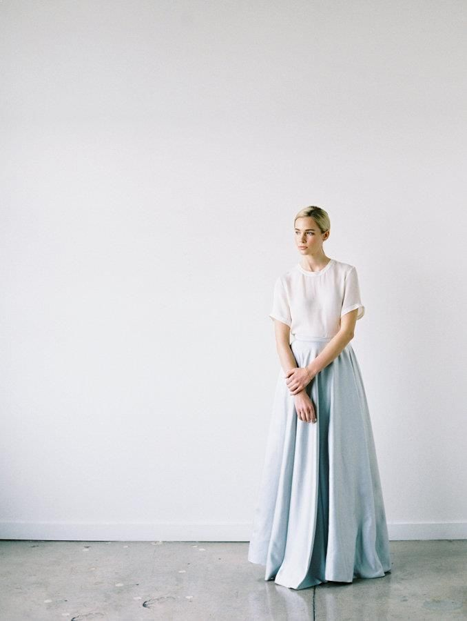 An untraditional wedding look with a skirt by Alexandra Grecco. #bride #gown