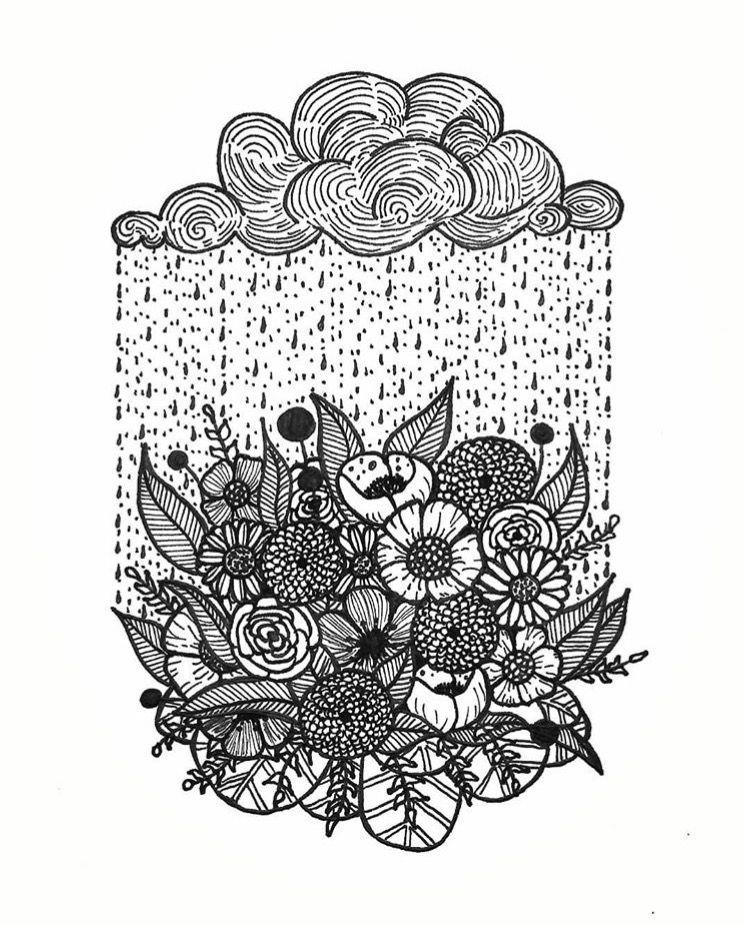 Rain brings flowers - adult coloring page || Free printable coloring ...