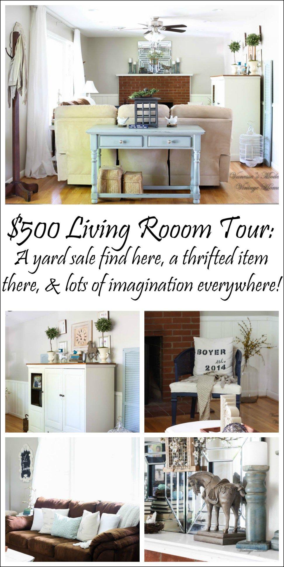 $500 Thrifted living Room Reveal | Diy living room decor, Diy living ...