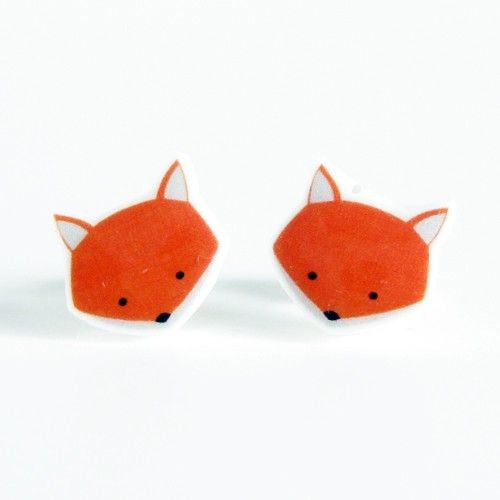 58815288dd54e Fox Earrings - Orange Sterling Silver Posts Studs Kawaii Cute ...