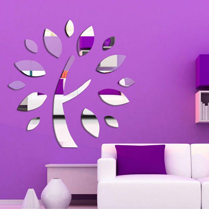 frete grátis Desejando espelho de parede árvore decoração do teto adesivo decalque 1mm de espessura PS espelho plástico decoração da sua casa $11.88