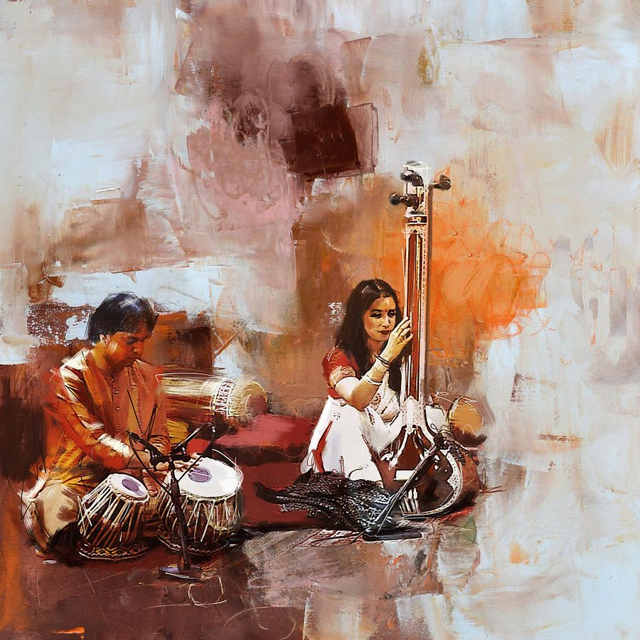 Zakir Painting - Classical Dance Art 17 by Maryam Mughal   Art ... for Abstract Painting Of Indian Dancers  51ane