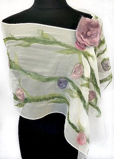 felted scarf with pink and lavender flowers