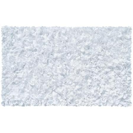 """White Shaggy Raggy Cotton Jersey Rug 22""""X34"""""""