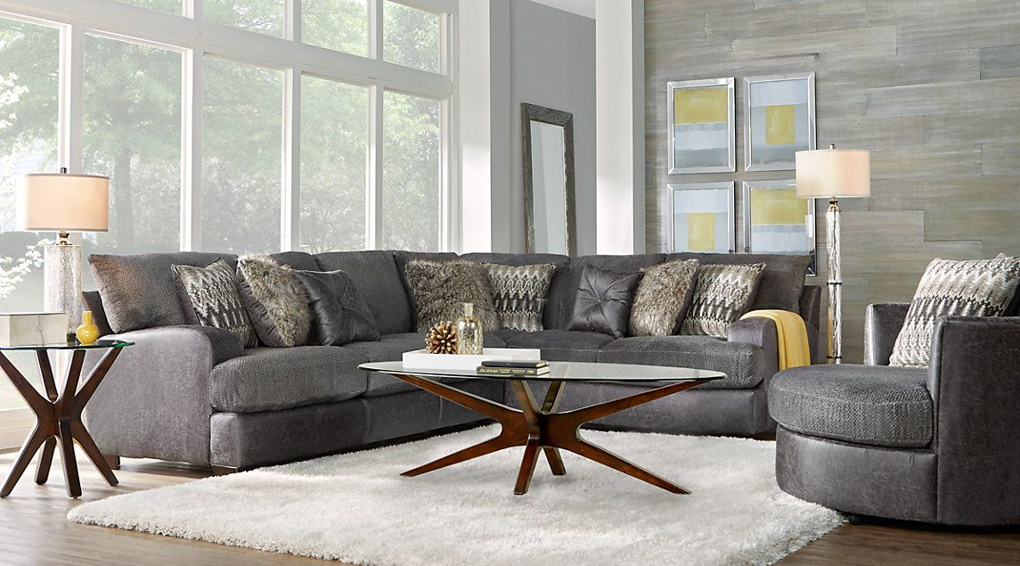 skyline drive gray 5 pc sectional