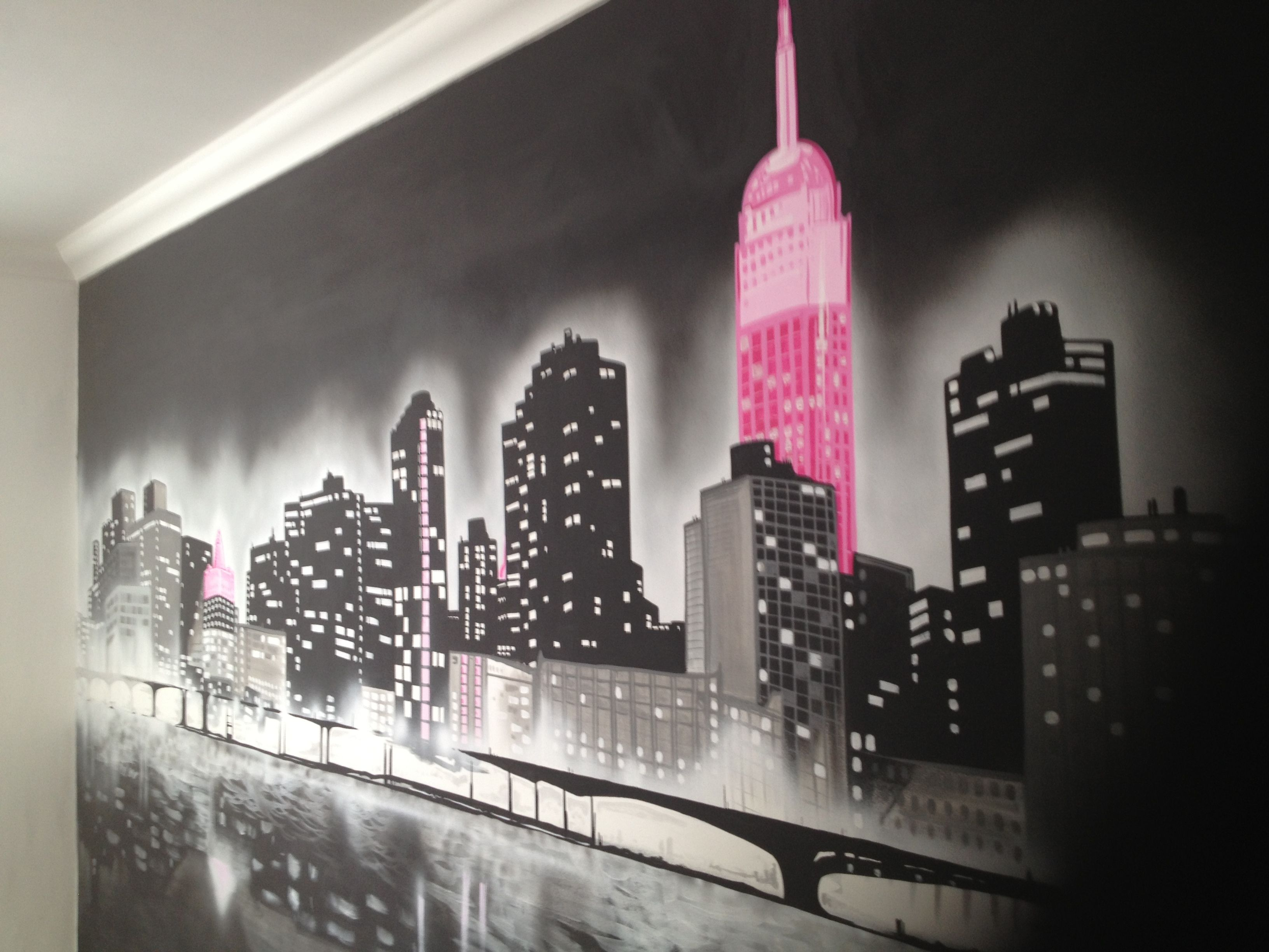 Painted Wall Murals manhattan with a hint of pink. painted wall mural | art