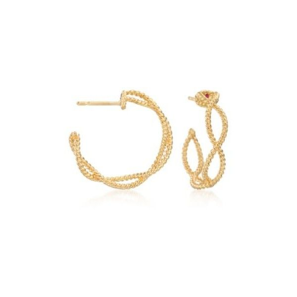Roberto Coin Barocco Gold Braided Hoop Earrings 3 4 Inches 75 425