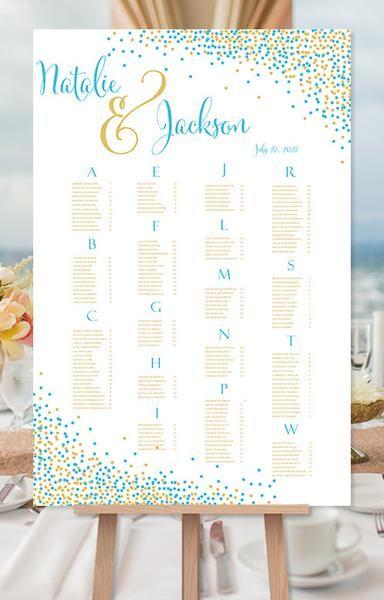 Wedding seating chart poster confetti malibu blue gold print ready digital file also rh pinterest