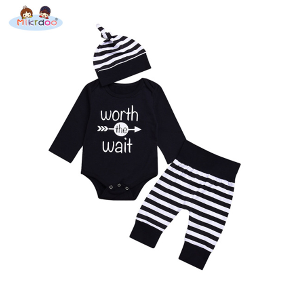 350862fee 2018 Tops newborn baby Romper Long Sleeve Romper Striped Pants+Hat ...