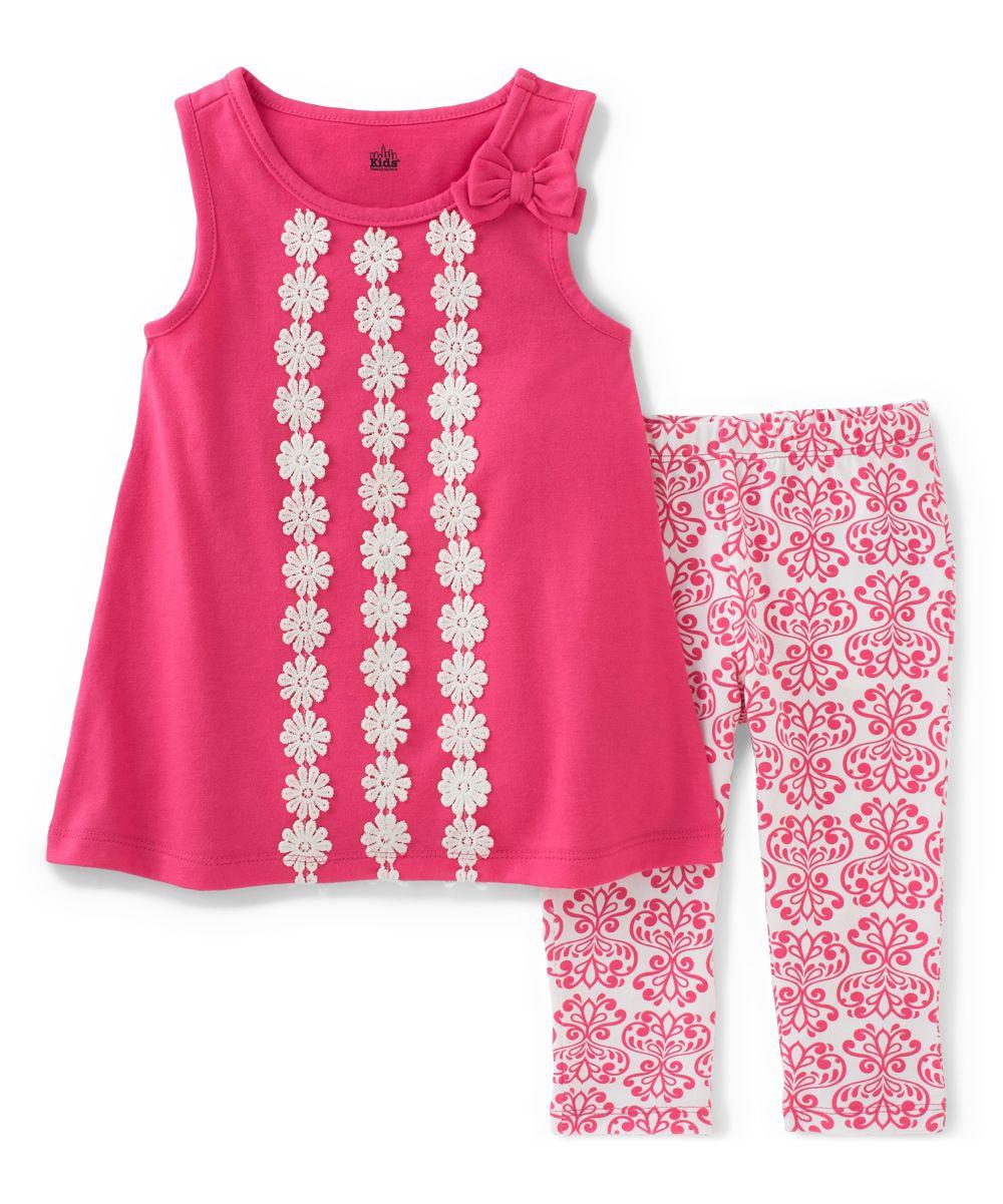 19f3b604263 Pink   White Daisy Top   Capri Pants - Infant   Toddler