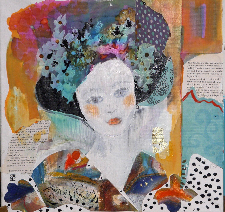 tableau carr art contemporain peinture acrylique portrait femme no l techniques mixtes. Black Bedroom Furniture Sets. Home Design Ideas