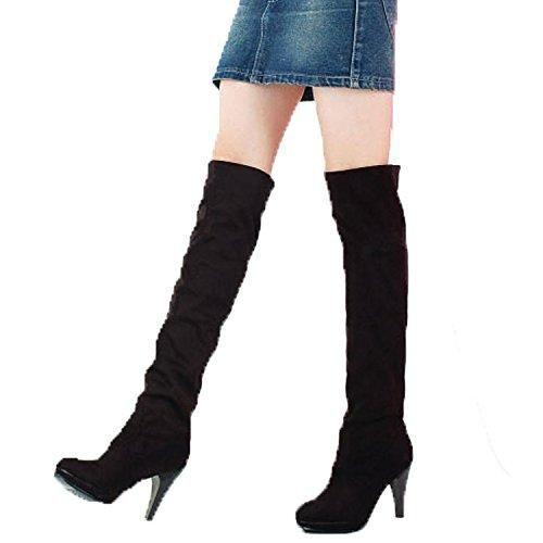 Minetom Mujer Oto/ño Invierno Botas de Tac/ón Moda Hebilla Cremallera Botas Altos Talones Zapatos