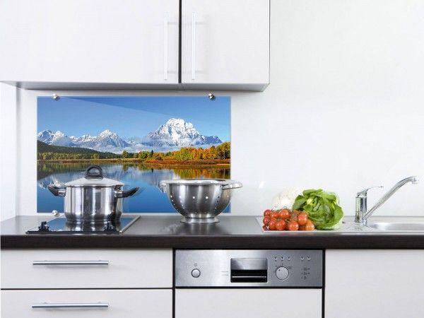 Spritzschutz Küche Landschaft See Berge idyllisch\