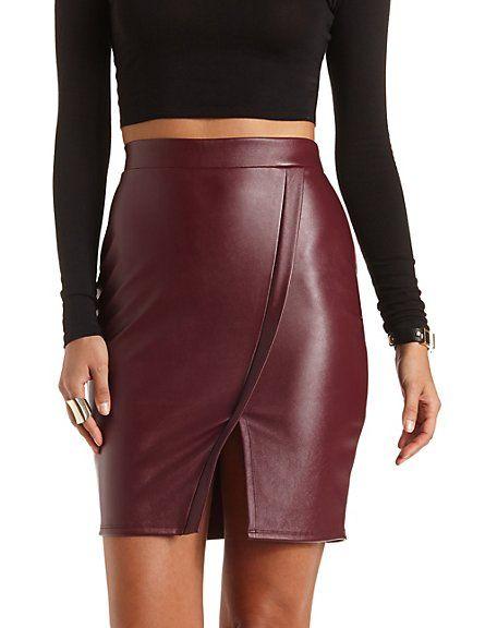 12e969eea6 Faux Leather Envelope Skirt #charlotterusse #charlottelook #leather #skirt  Fashion Tips, Fashion