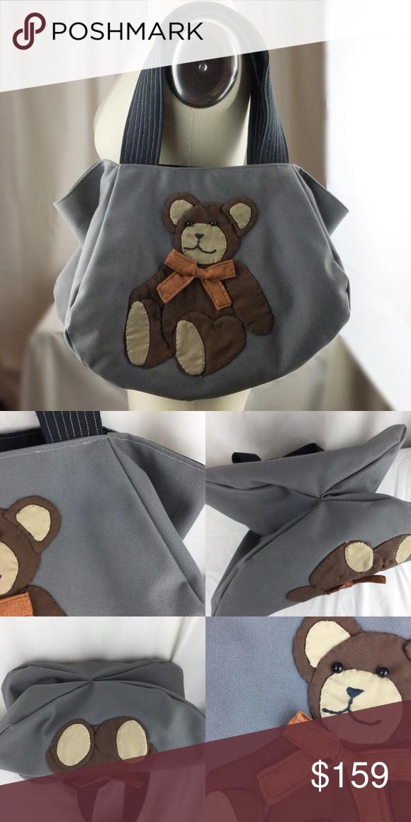 Hand Made OOAK Teddy Bear Appliqué  heavy canvas shoulder bag
