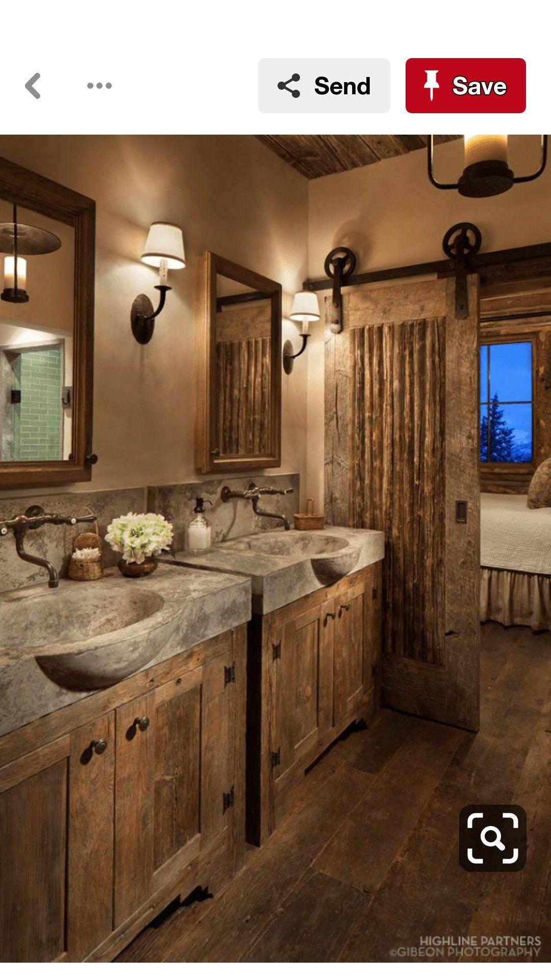 Nice Bath Separate Cabinets Rustic Bathroom Remodel Rustic Bathrooms Rustic Bathroom Decor