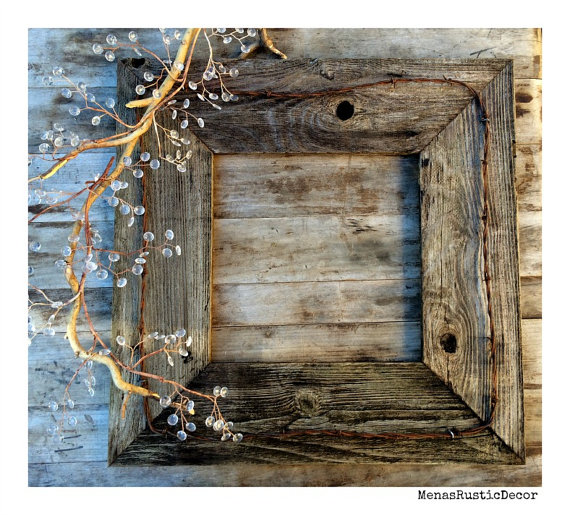 20x20 Rustic Barn Wood Photo Frame Barbed Wire By