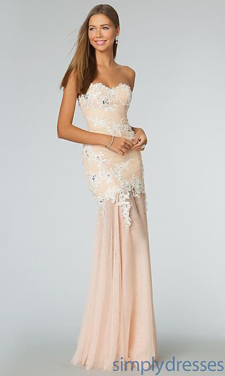 90252a406e JVN by Jovani Long Strapless Sweetheart Lace Embellished Dress at  SimplyDresses.com