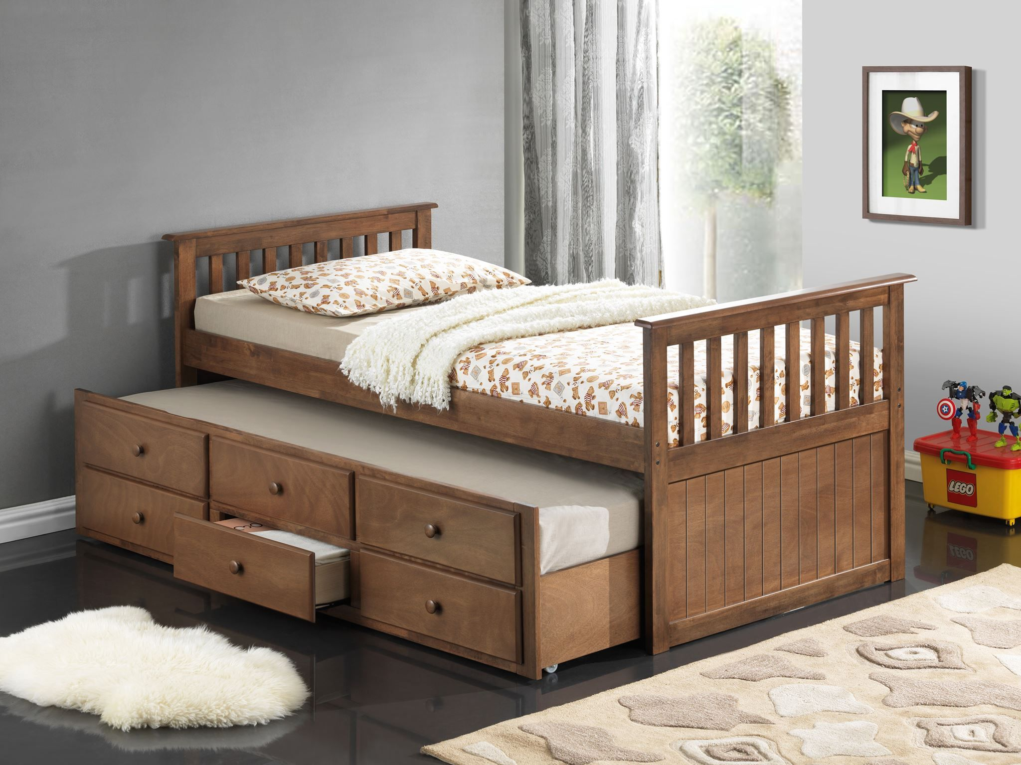 broyhill kids marco island bed with trundle bed and drawers dove brown - Kids Trundle Beds