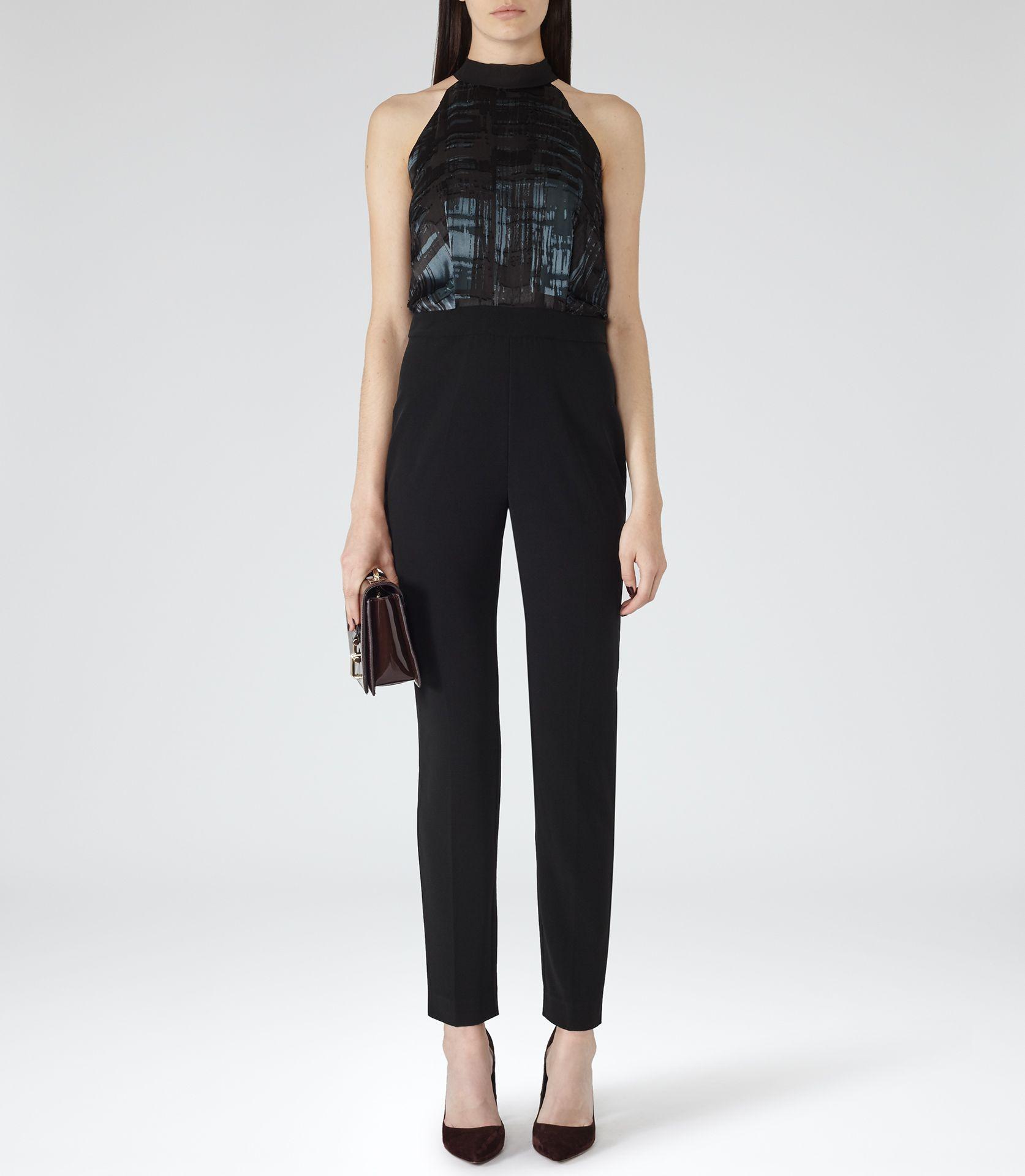 40ba89722d Womens Black Tie-neck Jumpsuit - Reiss Gray