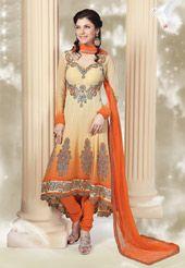 Cream and Orange Faux Chiffon Anarkali Churidar Kameez
