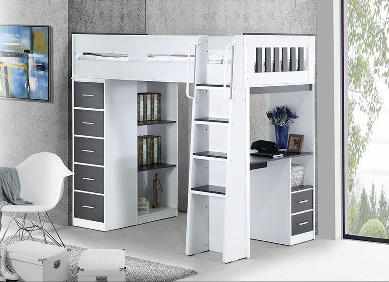 Dallas King Single Loft Bunk With Desk Storage Single Loft Bed