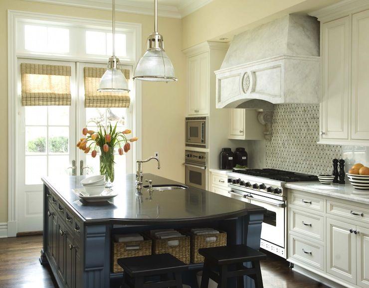 Two Tone White Blue Kitchen Marble Absolute Black