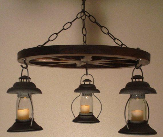 Small Mason Jar Beacon Candle Lamp Wagon Wheel Chandelier - Wireless!
