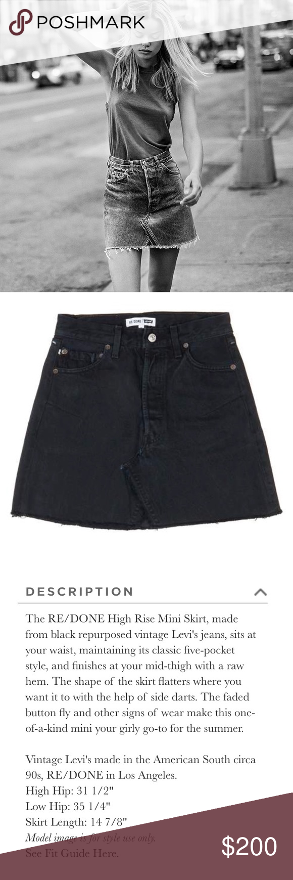 87be4bd19b Re/Done Vintage Levi's 90s Skirt - Black Re/Done vintage Levi's, authentic  and new with tags Re/Done Jeans