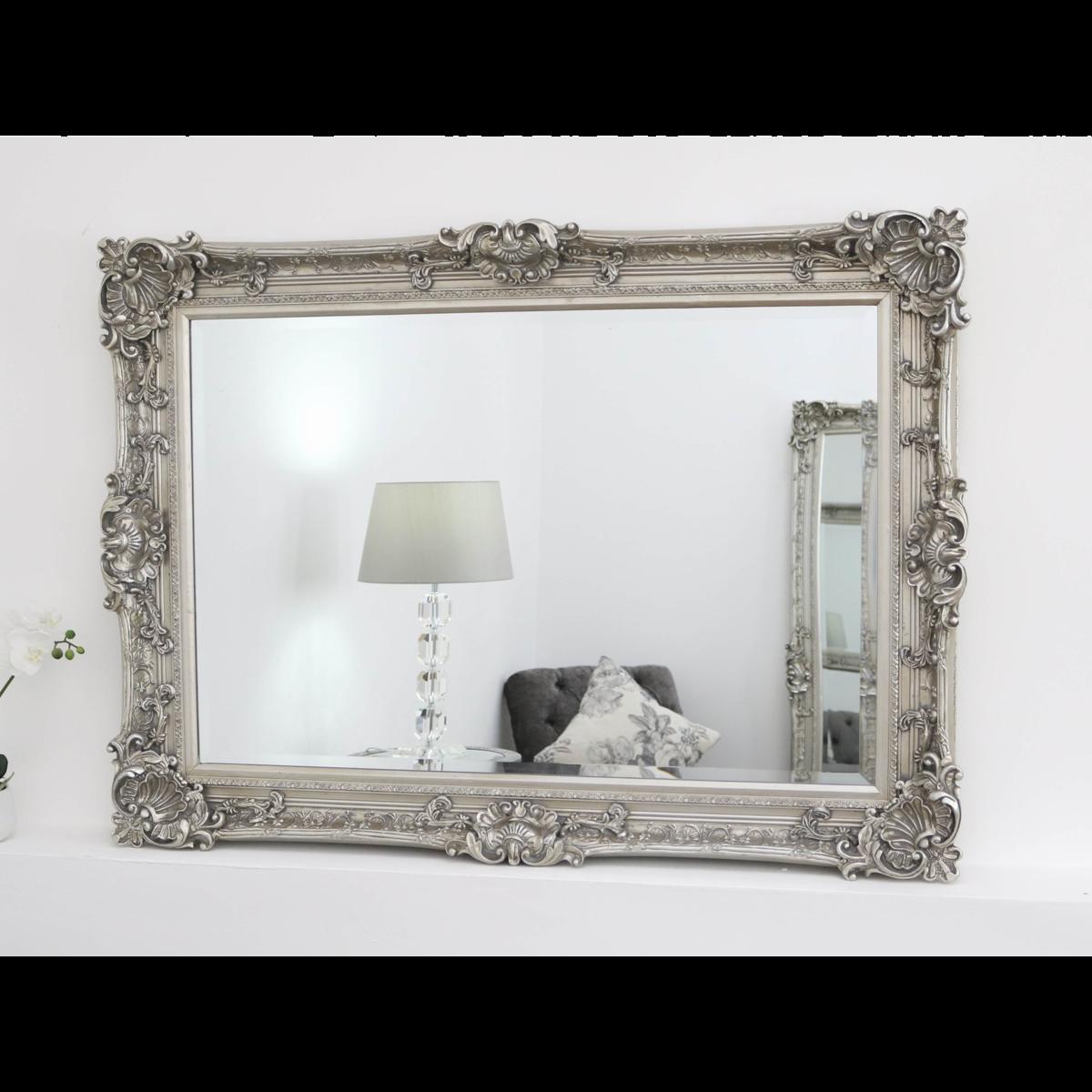 Hampshire Silver Ornate Rectangular Mirror 44 X 32 112cm X 81cm White Ornate Mirror Ornate Mirror White Mirror Frame