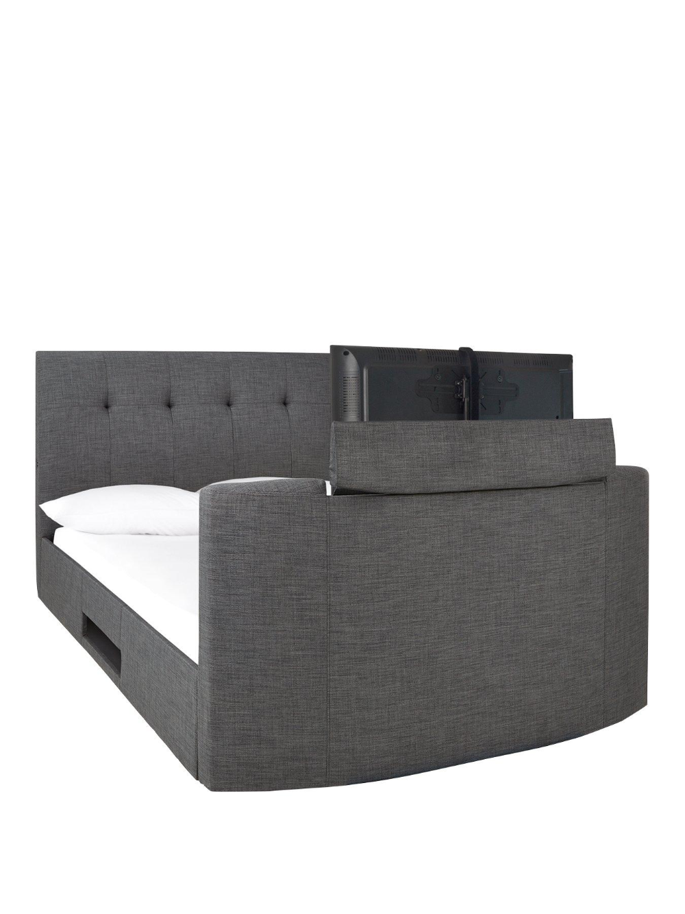 P Avelon Fabric Side Lift Ottoman Storage Tv Bed With Bluetooth
