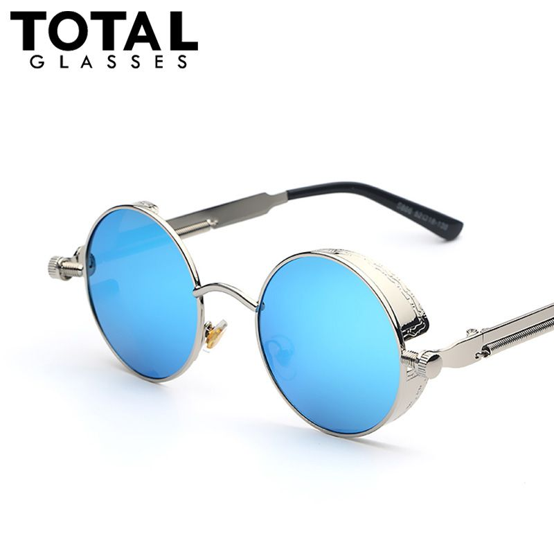 119cb106b Gothic Steampunk Mens Sunglasses Coating Mirrored Sunglasses Round Circle  Sun glasses Retro Vintage Gafas Masculino Sol