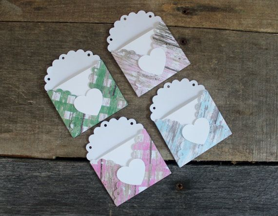 Gift Tags Mini Note Cards And Envelopes Love Tiny Envelope Hang Tag Card Small Set Of 4 By Mylilcraftyroom On