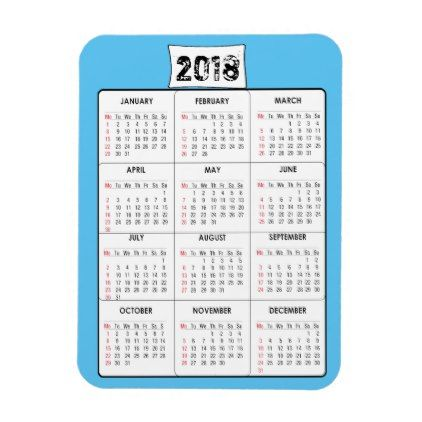 Mini Calendar Blue Refrigerator Magnet  Diy Cyo Customize