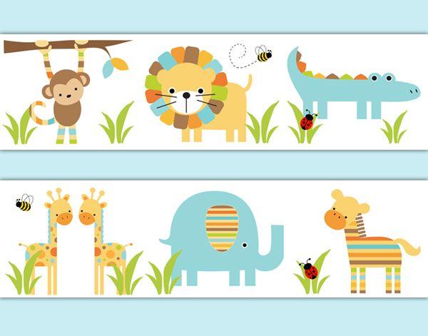 Safari Animal Nursery Neutral Wallpaper Border Wall Art