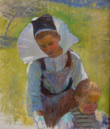 """La Bretagne de l'intérieur vue par les peintres Frank Crawford Penfold (1849-1927) """"Jeune fille bretonne et enfant"""
