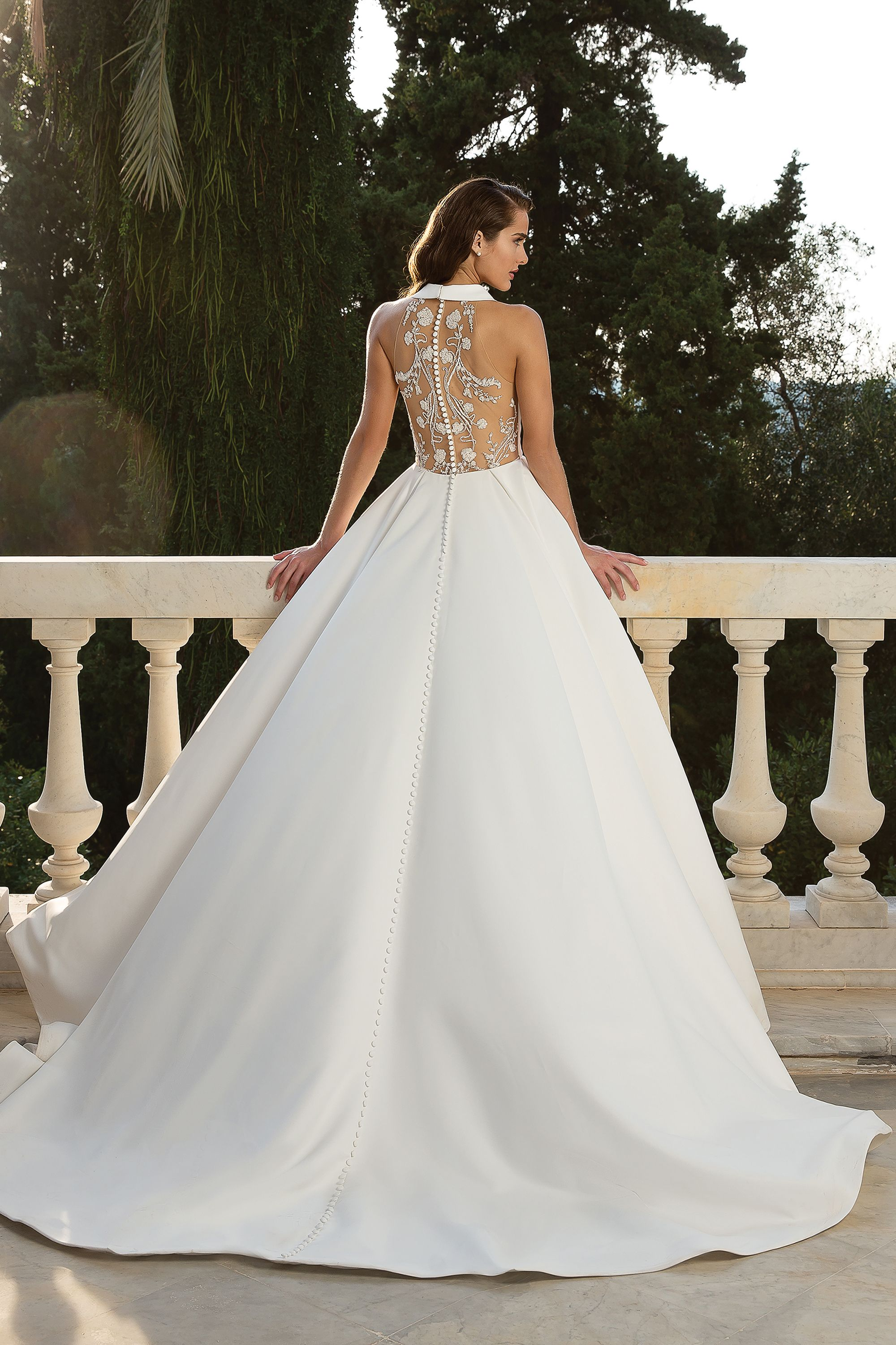 Style 88072 Halter Neckline Satin Ball Gown With Beaded Back Detail Justin Alexander Justin Alexander Wedding Dress Wedding Dresses Ball Gowns Wedding