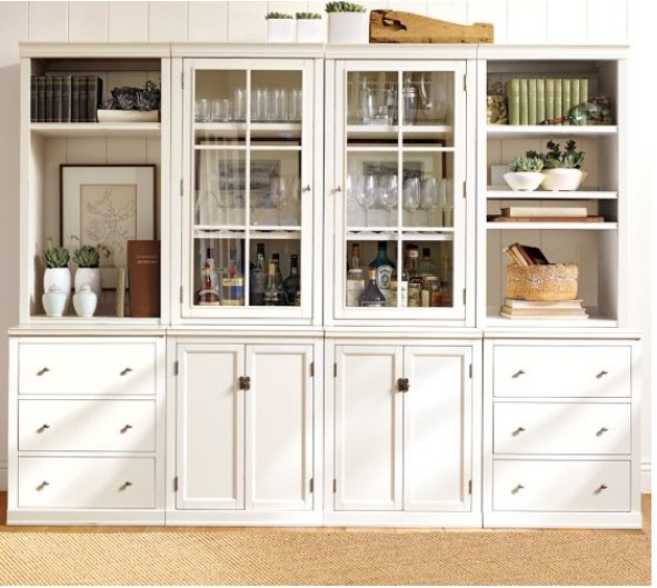 Pottery Barn Accessorizing A Glass Front Cabinet With