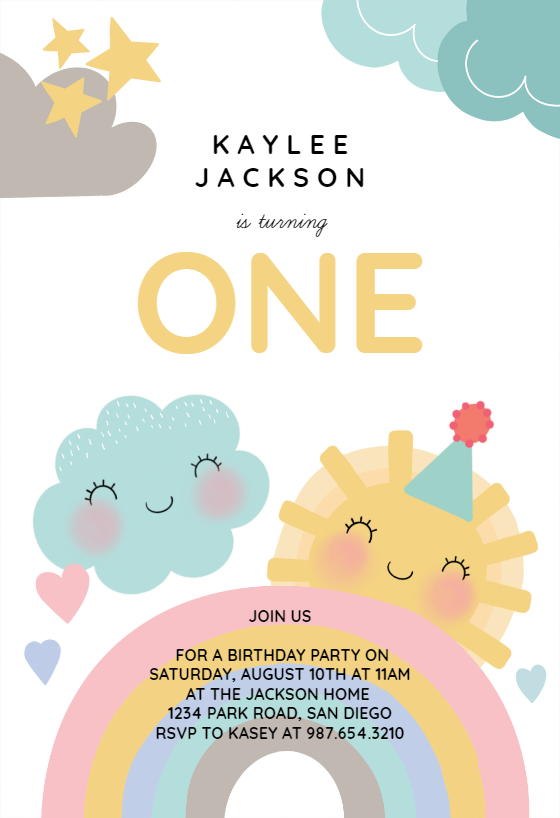 Happy Rainbow Birthday Invitation Template Free Greetings Island Rainbow Birthday Invitations Birthday Party Invitations Free Rainbow Party Invitations