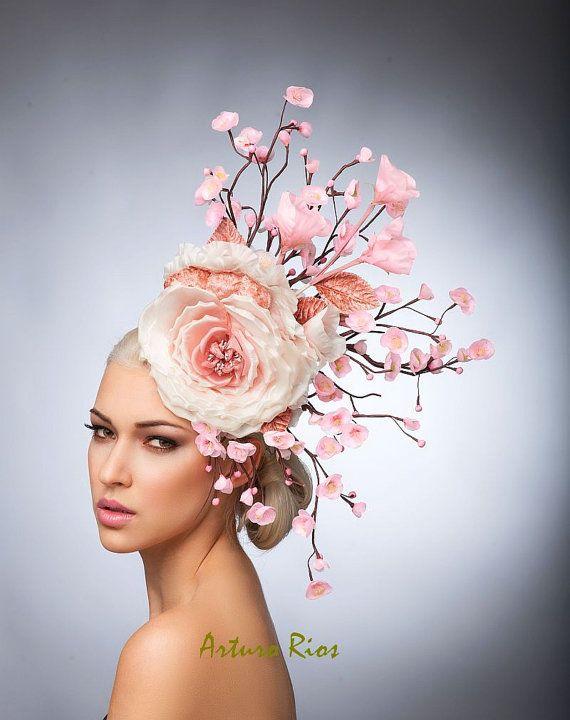 Pink Cherry Blossom Fascinator Blush Headpiece by ArturoRios