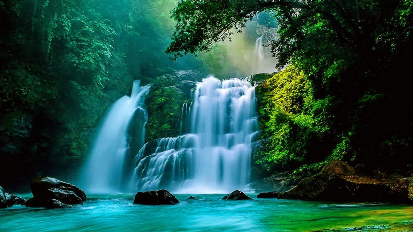 Desktop wallpapers and backgrounds tropical waterfall - Nature wallpaper of waterfall ...